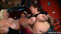 Three fat chicks have fun in the bar thumb