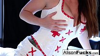 Sexy Nurse Alison Tyler spreads her pretty pussy for our enjoyment