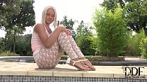 Hot New Blonde Latvian Model Evelyn Poses In Lace Leggings