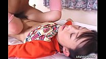Adorable and cute pigtail Asian teen getting ha...