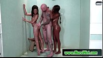 Sexy ebony masseuses giving pleasure to a white client