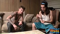 Tattooed straight guys tugging hard after strip poker