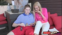 Stepmom Daryl Hanah taught teen couple some oral sex video