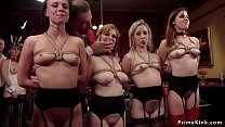 Four slaves fucking at bdsm party
