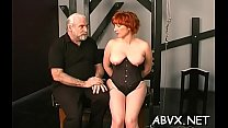 Hottie gets man to roughly stimulate her pussy in slavery xxx Thumbnail