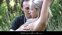 Fresh blonde teens restrained for outdoor bonda...