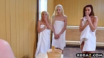 Three teen hotties share a hard monstercock in a sauna - download porn videos