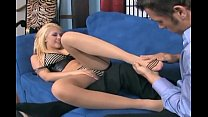 Footjob in sheer seamed stockings