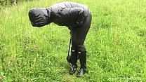 Wife in Hunter wellies and leather leggings (video via smartphone)
