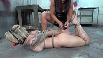 Dumb Reagan Lush is strictly bound and ball gagged in the basement while struggling صورة