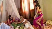 Sinbad has groupsex with his harem of Euro babes