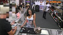 Booby Latina sells her cellphones and fucked at the pawnshop thumbnail