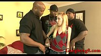 Horny blonde babe double stuffed by nasty black...