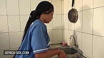 Curvy amateur black housewife has a kitchen quickie with her husband