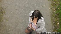 Dirty wife pissed on by strangers outdoors