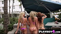 Sexy blonde babe smokes guys big thing with hot friends