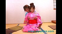 Japanese Lesbians Wearing Traditional Clothes S...