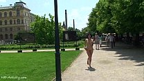 Naughty sweet babes naked on public streets preview image