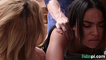 Brunette and blonde teen thieves getting banged by a security guy in his offid-1 video