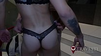 Boy fulfills his dream of wearing panties with shemale