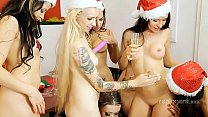 Group of excellent snow girls including Empera were drilled by Santa's dick