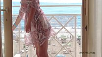 Window flash. Exhibitionist wife caught when she show her nude body at the window. Amateur