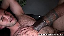 Ripped DILF barebacking suspended bearcub