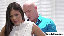 Horny uncle fuck her on massage table