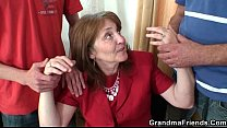 Bossy old lady takes two cocks at once pornhub video