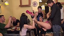 Blue haired slave whipped in public video