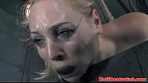 Nipple clamped sub pussy toyed by maledom preview image