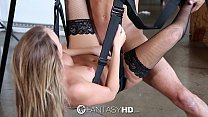 HD - FantasyHD Alexis Adams in black lingerie fucked on a sex swing preview image