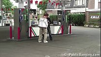 Very pregnant girl fucked by 2 guys at a public gas station gang bang threesome