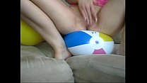 Sophie in jeans miniskirt pink T-shirt red lingerie fingering her pussy with two