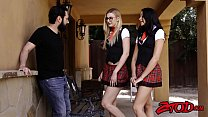 Naughty young schoolgirls taking turns with big hard dick