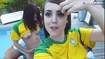 Naughty teen bffs fucked by soccer coach by the poolside