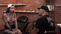 Behind the scenes for Amber Luke's new face tattoo