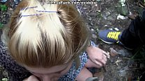 young blonde sucks a huge dick on the street! pornhub video