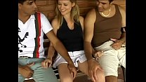 Young blonde chick Melissa Alecxander is not against to have a good time in company with couple well-stuffed guys on the patio