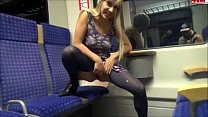 Blonde babe peeing in the train On xPee image