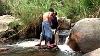 Latino gay couple suck dick in the river