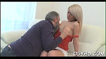 Juvenile babe licks and rides old one-eyed monster preview image