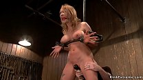 Busty babe is feet tormented in bondage