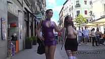 Naked big tits slave in public streets video