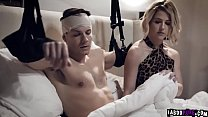 Kit Mercer jerks off her horny stepsons huge young cock until he cums