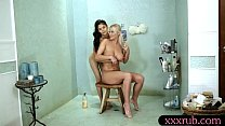 Big hooters client lesbian sex with her skinny ...