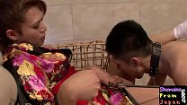 Japanese tgirl dominated guy with blowjob