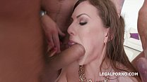 Wild slut Tina Kay 4 on 1 double anal fuck with Sperm Swallow and GOLD SWALLOW!!