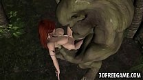 3D elf babe getting fucked hard outdoors by an orc porn image