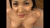 Big tit Asian spits cum out mouth, into her pussy!!!